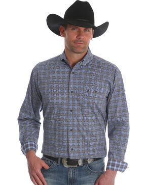 Wrangler Men's Blue 20X Advanced Comfort Competition Shirt , Blue, hi-res