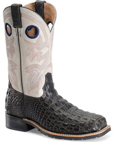 Double H Men's Chocolate Caiman Print Work Boots - Steel Toe, Brown, hi-res