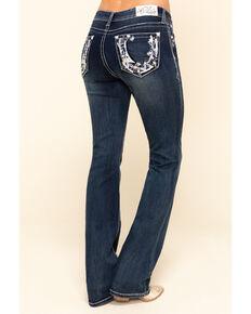 Grace in LA Women's Dark Wash Floral Horseshoe Bootcut Jeans , Blue, hi-res