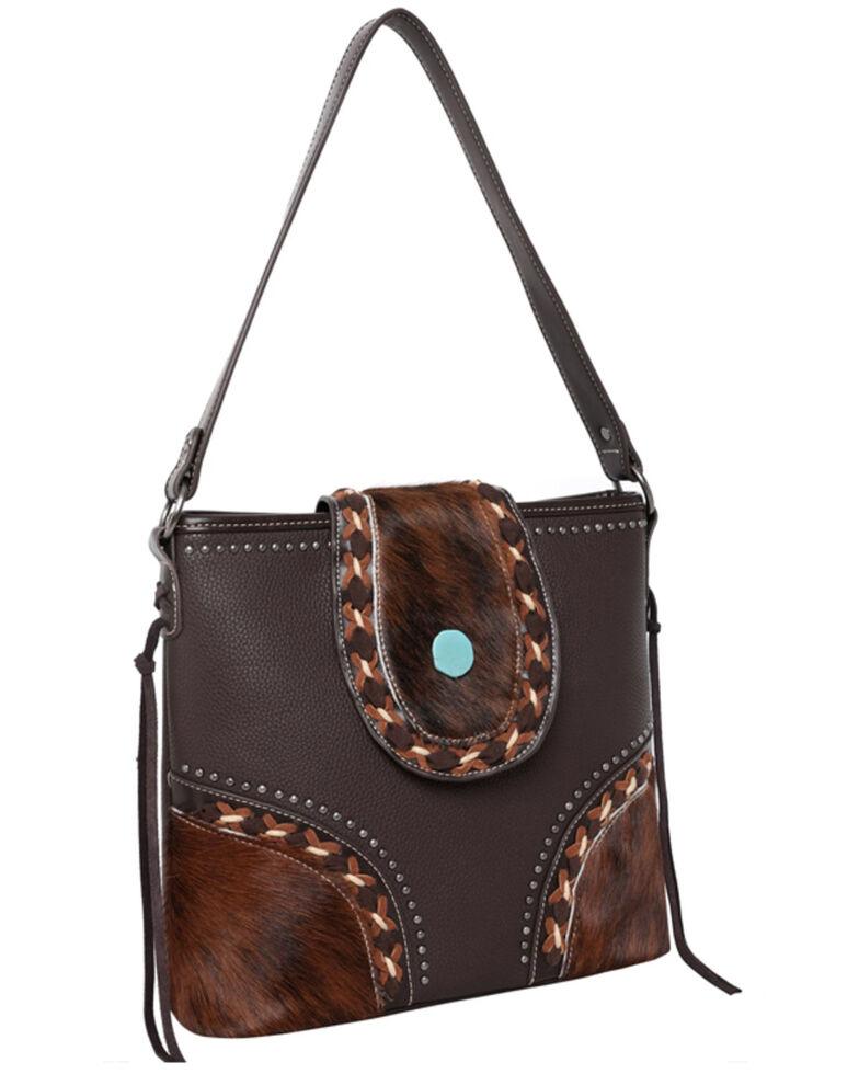 Montana West Women's Cowhide Hobo Bag, Dark Brown, hi-res