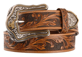 Tony Lama Westerly Ride Leather Belt - Reg & Big, Tan, hi-res