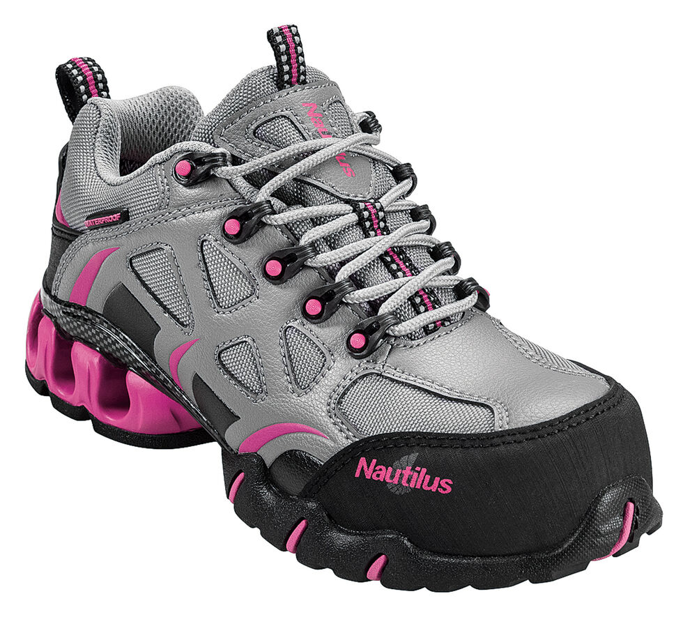 Nautilus Women's Grey and Pink Nylon Microfiber Athletic Work Shoes - Composite Toe, Grey, hi-res