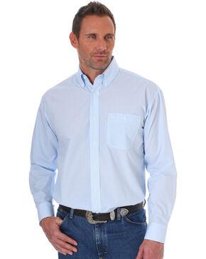 George Strait by Wrangler Men's Blue Printed Long Sleeve Western Shirt , Blue, hi-res