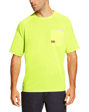 Ariat Men's Lime Rebar Sunstopper Short Sleeve Pocket Tee, Bright Green, hi-res