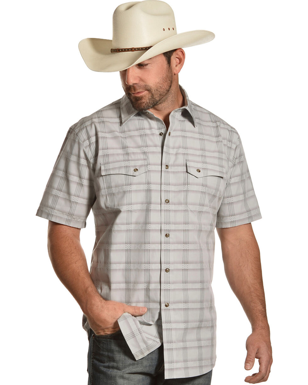 Pendleton Men's Grey Cody Short Sleeve Western Snap Shirt, Grey, hi-res