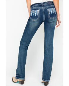 997817b87f0 Grace In LA Womens Aztec Embroidered Easy Mid Boot Cut Jeans