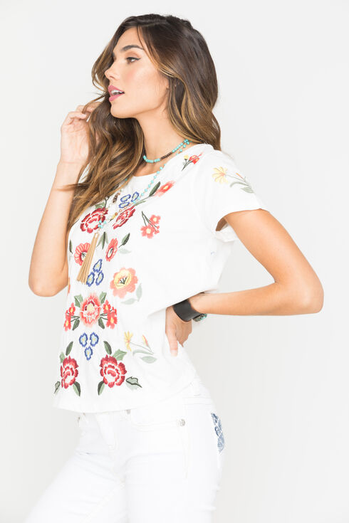 Miss Me Women's Ivory Embroidered Short Sleeve Shirt, Ivory, hi-res
