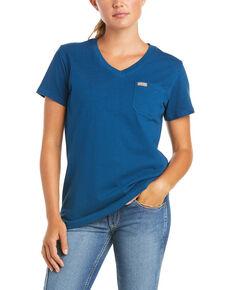 Ariat Women's Rebar Cotton Strong Retro Aztec Flag Short Sleeve Work T-Shirt , Blue, hi-res
