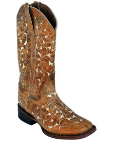 Ferrini Women's Honeysuckle Western Boots - Square Toe, Brown, hi-res