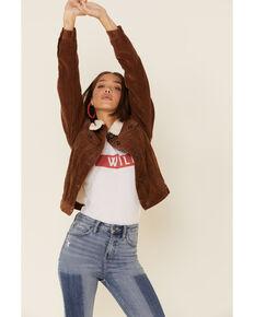 Boom Boom Jeans Women's Corduroy Sherpa Lined Denim Jacket , Cognac, hi-res