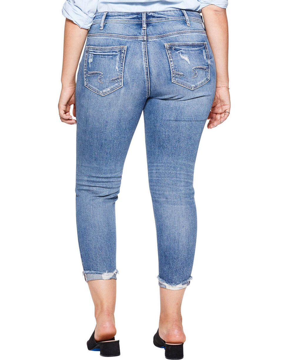 Silver Women's Suki Medium Wash Skinny Crop Jeans - Plus, Indigo, hi-res