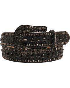 Nocona Women's Rhinestone Floral Black Tooled Leather Belt, Black, hi-res