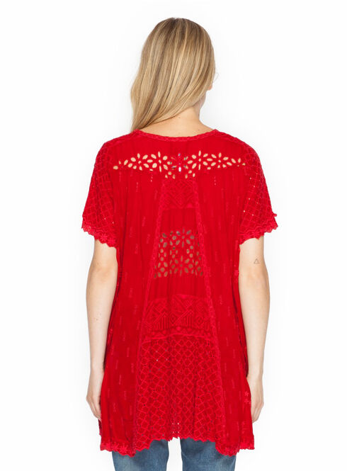 Johnny Was Women's Jaime Flair Top, Red, hi-res