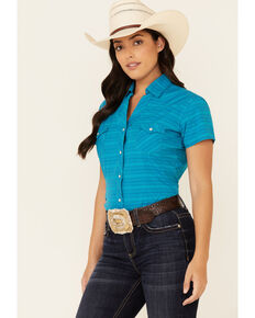 Panhandle Women's Teal Jacquard Striped Short Sleeve Snap Western Core Shirt , Teal, hi-res