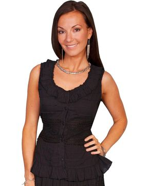 Scully Crocheted Sleeveless Top, Black, hi-res