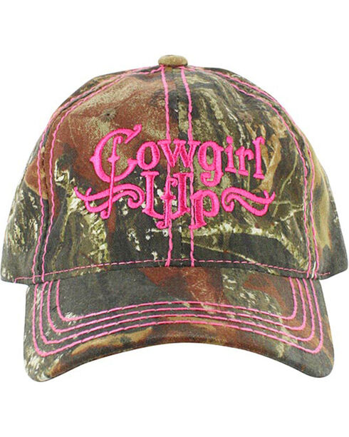 Cowgirl Up Women's Mossy Oak Ball Cap, Pink, hi-res