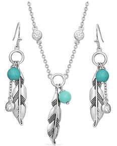Montana Silversmiths Women's Charming Feather & Turquoise Jewelry Set, Silver, hi-res
