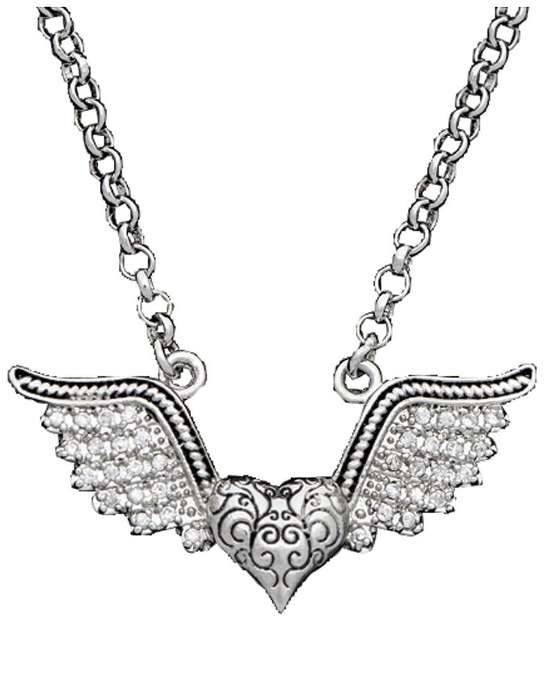 Montana Silversmiths Antique Winged Heart Necklace, Silver, hi-res