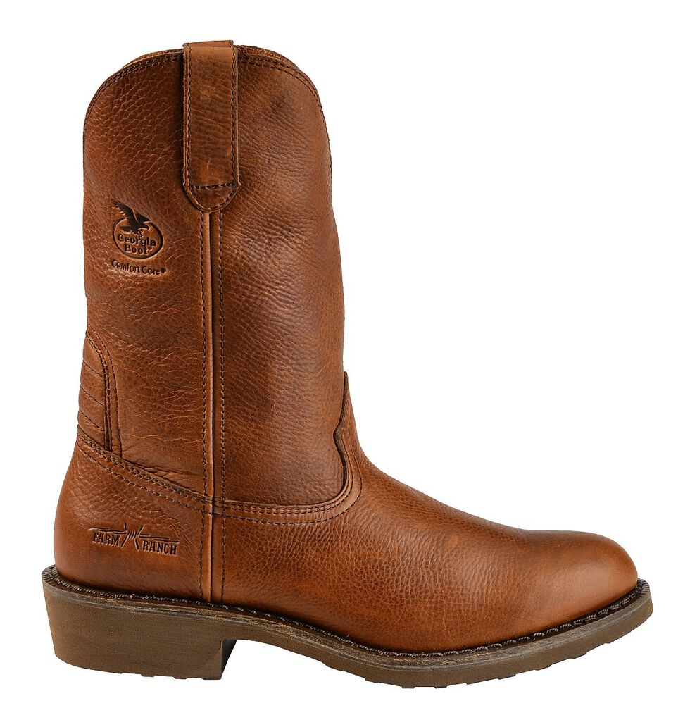 Georgia Boot Carbo Tec Wellington Pull-On Work Boots - Round Toe, Brown, hi-res