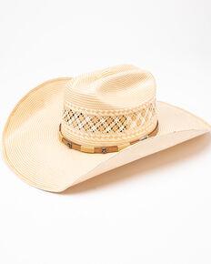 Larry Mahan 10X Wyatt Band Straw Cowboy Hat , Ivory, hi-res