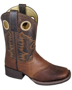 Smoky Mountain Youth Boys' Luke Leather Western Boots - Square Toe, Brown, hi-res