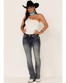 Grace in LA Women's Mid Rise Cowhide Bird Pocket Bootcut Jeans , Blue, hi-res