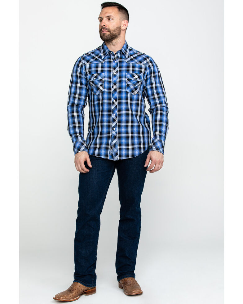 Rock & Roll Denim Men's Crinkle Herringbone Plaid Long Sleeve Western Shirt , Blue, hi-res