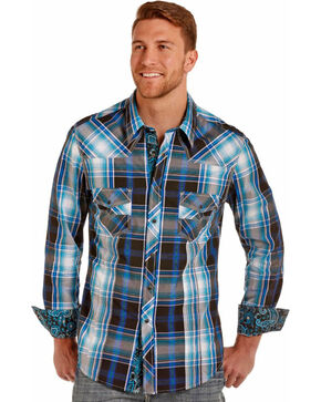 Rock & Roll Cowboy Men's Turquoise Plaid Snap Shirt , Turquoise, hi-res