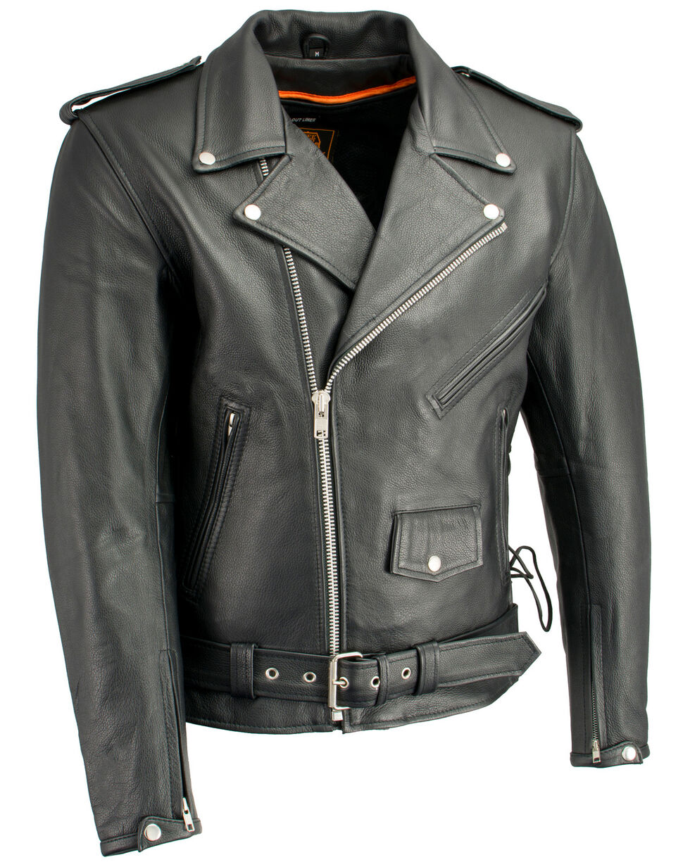 Milwaukee Leather Men's Classic Side Lace Concealed Carry Motorcycle Jacket, Black, hi-res