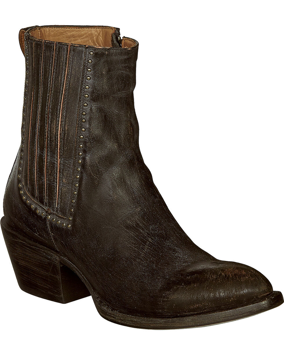 Lucchese Handmade Black Distressed Leather Adele Cowgirl Booties - Pointed Toe , Black, hi-res