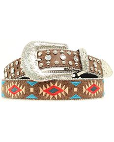 Blazin Roxx Southwest Stitch Diamond Belt, Brown, hi-res