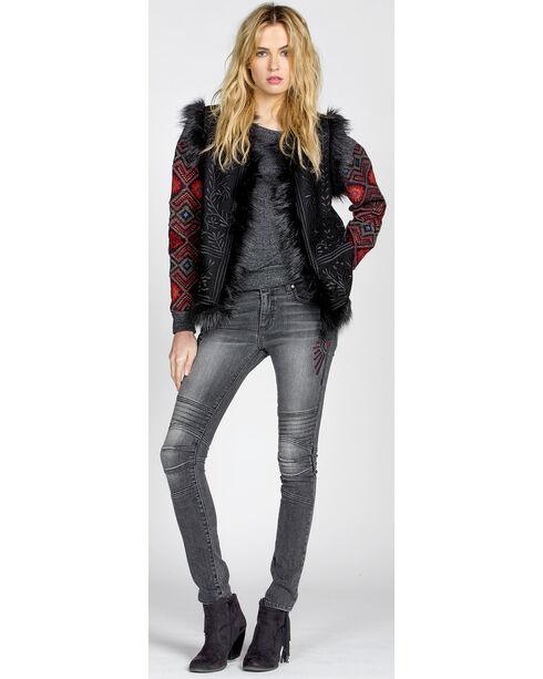 MM Vintage Primitive Beauty Embroidered Vest, Black, hi-res