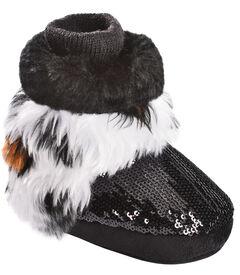 Blazin Roxx Infant Girls' White Tiger Fur Bootie Slippers, Black, hi-res