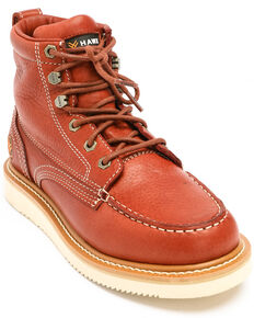 Hawx Men's Grade Moc Wedge Work Boots - Moc Toe, Red, hi-res