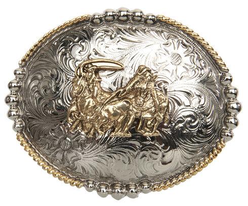 AndWest Men's Antique Gold Team Roper Belt Buckle, Multi, hi-res