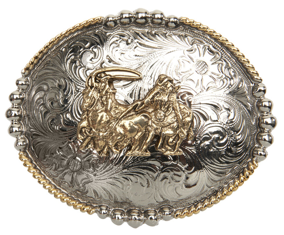 AndWest Men's Antique Gold Team Roper Belt Buckle, Multi, hi-res
