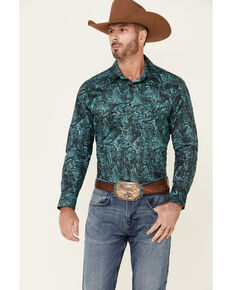 Rock & Roll Denim Men's Turquoise Paisley Print Long Sleeve Snap Western Shirt , Turquoise, hi-res