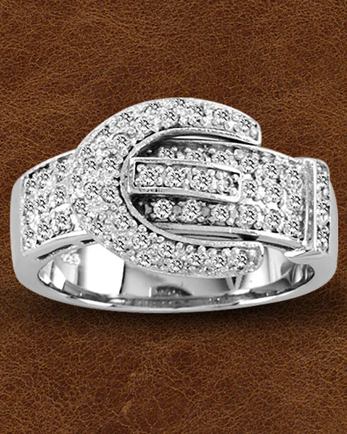 Kelly Herd Sterling Silver Pave' Buckle Ring , Silver, hi-res