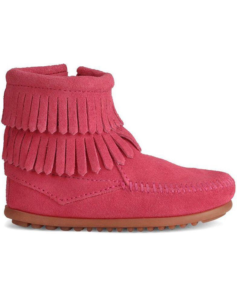 Minnetonka Girls' Double Fringe Side-Zip Moccasin Boot, Hot Pink, hi-res