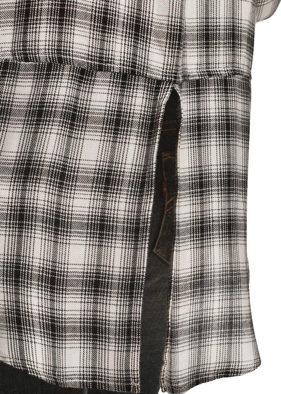 New Direction Women's Black & White Plaid Western Shirt, Blk/white, hi-res