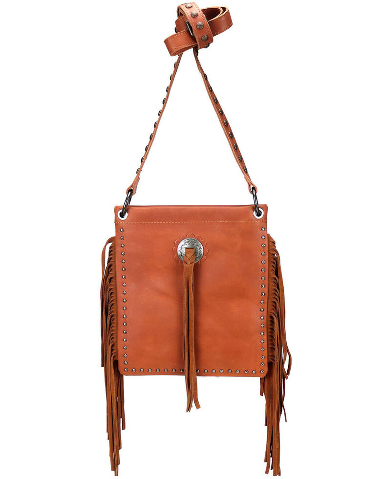 Montana West Women's Leather Fringe Crossbody Bag, Brown, hi-res