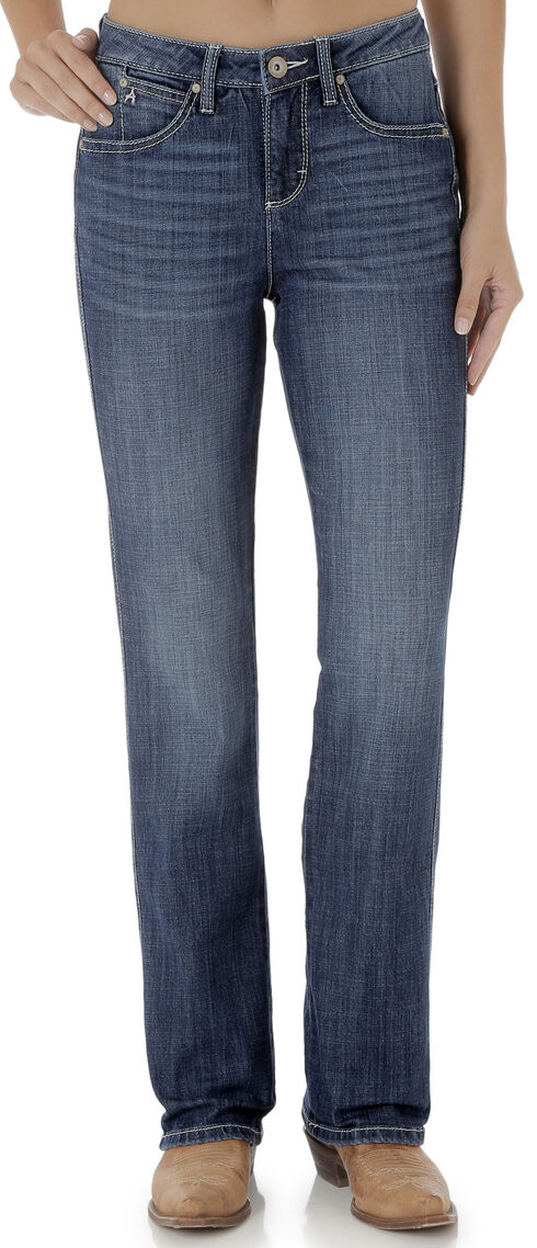 Wrangler Aura Women's Mid Rise Jeans with Swirl Embroidered Pocket, Indigo, hi-res