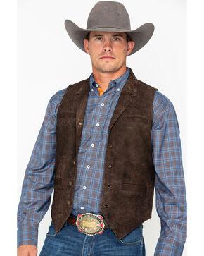 Ryan Michael Men's Buffalo Suede Button Vest , Brown, hi-res