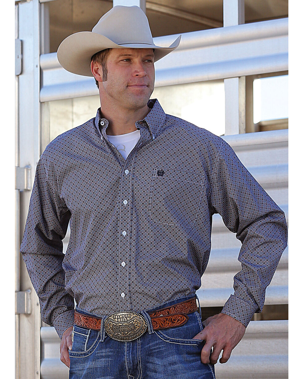 Cinch Men's Grey Plain Weave Western Shirt , Multi, hi-res