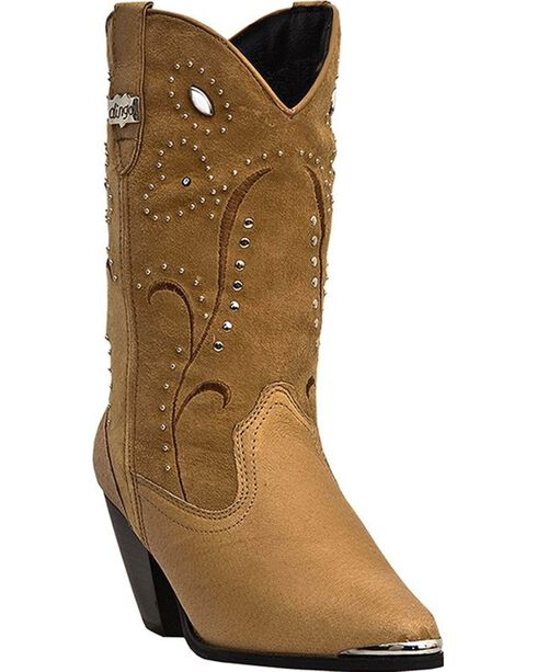 Dingo Ava Suede Studded Shaft Cowgirl Boots - Round Toe, Chestnut, hi-res