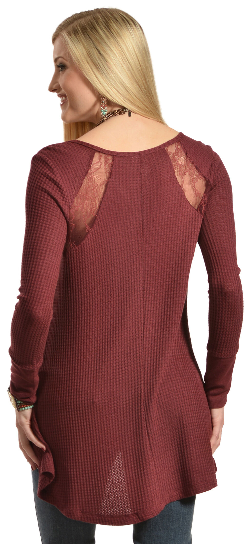 Others Follow Women's Waffle Lace Top, Dark Red, hi-res