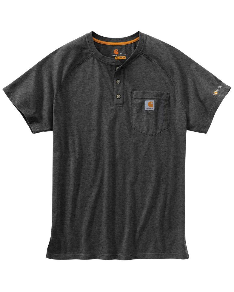 Carhartt Force Cotton Henley Short Sleeve Work Shirt - Big & Tall, Hthr Grey, hi-res