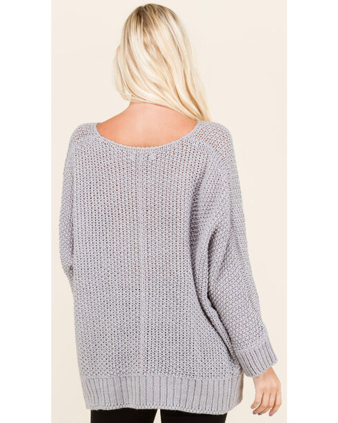 Polagram Women's 3/4 Sleeve Scoop Neck Sweater , Grey, hi-res