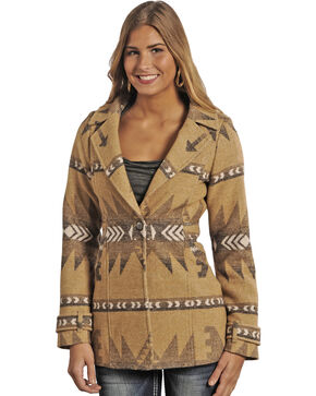 Powder River Women's Hannah Wool Aztec Coat, Tan, hi-res