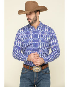 Rock & Roll Denim Men's Blue Ikat Aztec Print Long Sleeve Western Shirt , Blue, hi-res